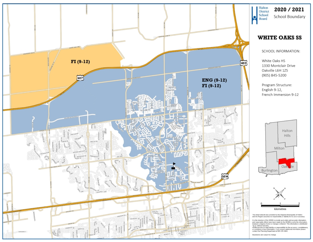 white oaks high school boundary map